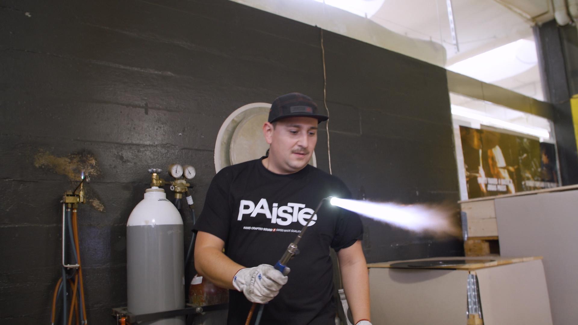 Felix Lehrmann in the Paiste factory, Switzerland